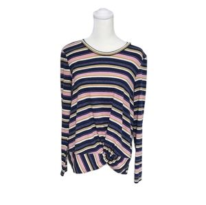 Caslon striped knot front top